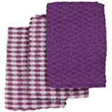 Linens Limited Terry Towelling Cotton Kitchen Tea Towels, Lilac/White, 3 Pack
