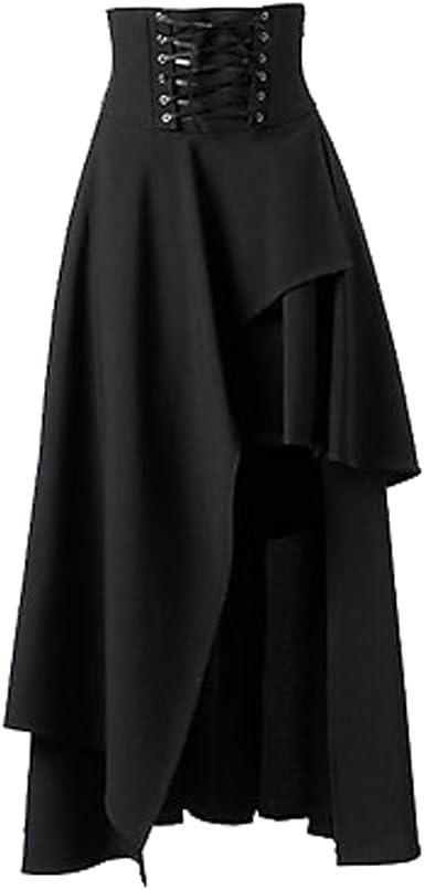 ZAMME Falda de Volantes Negra de Las Mujeres Faldas de Steampunk ...