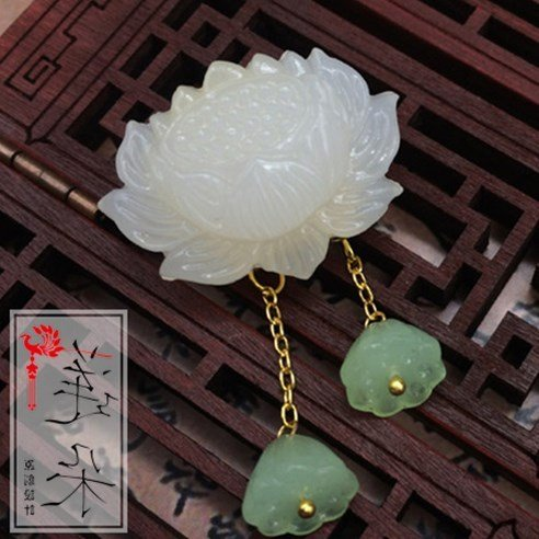2018 Lotus jade brooch pin Reminiscence retro original theatrical archaic Chinese clothing cheongsam costume brooches - Jade Brooch Pin