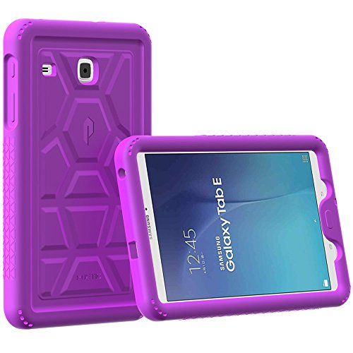 Galaxy Tab E 9.6 Case - Poetic TurtleSkin Series [Corner/Bumper Protection][Grip][Sound-Amplification][Bottom Air Vents] Protective Silicone Case for Samsung Galaxy Tab E 9.6 (2015) Purple