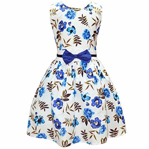 DDSOL Little Girls Enchanted Rose Printing Sleeveless Princess Floral Dress 4-5Y (Fancy Dress Uk)