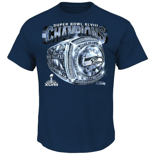 Seattle Seahawks 2013 Super Bowl Champs Victory Bling Championship T-shirt M