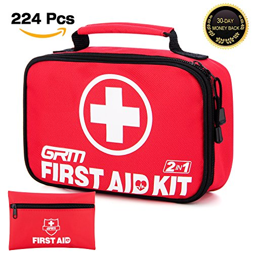 First Aid Kit (224 Pieces), GRM 2-in-1 (180 Pieces+44-Piece Mini First Aid Kit) FDA-Approved Emergency Preparedness Kit with 2 Storage Bags for Home Office School Car Travel Camping Hiking