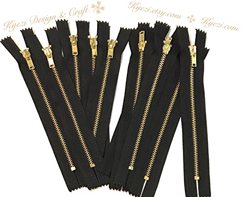 - 10 pcs 9 inch Black Metal Teeth Zippers, Brass Gold Teeth - Fast Shipping [Kyezi Design & Craft]