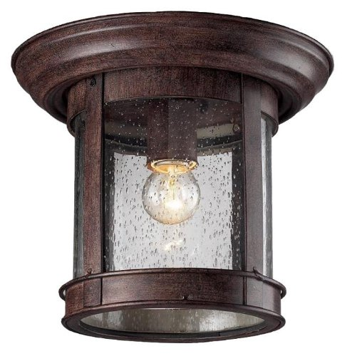 Z-Lite 515F-WB Outdoor Flush Mount Light, Aluminum Frame, Weathered Bronze Finish and Clear Shade of Glass Material ()