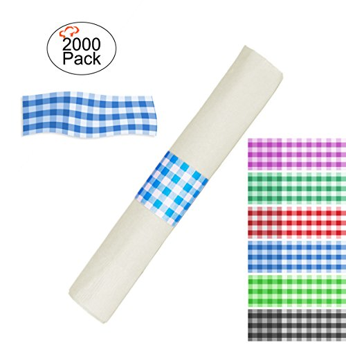 Box Blue Gingham - Tiger Chef 2000-Pack Blue Gingham Self-Sealing Paper Napkin Bands, Pre-Cut 1.5 X 4.5 Inch, Box of 2000 Elegant Disposable Napkin Bands