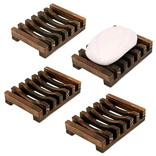 Milky House Wooden Soap Dish, Handcraft Nature Wood Soap Holder for Bathroom Shower 4 Pack - Nature Soap Dish