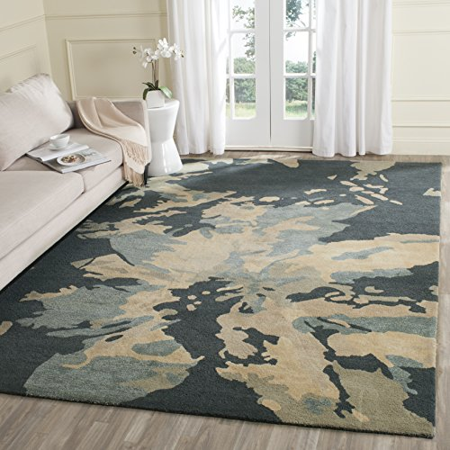 (Safavieh Bella Collection BEL670A Handmade Modern Floral Abstract Art Steel Blue Wool Area Rug (3' x 5'))