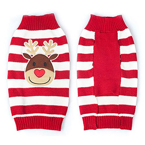 helegeSONG Fashion Cute Christmas Dog Sweater Autumn Winter Warm Knitting Striped Elk Pet Clothing - Red S ()