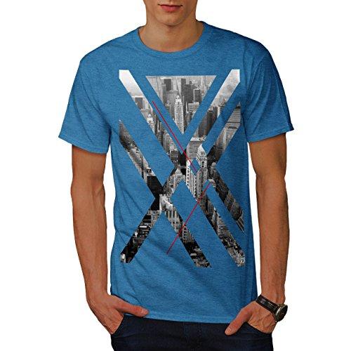 wellcoda City USA Abstract Mens T-Shirt, Urban Graphic Printed Tee Royal Blue L