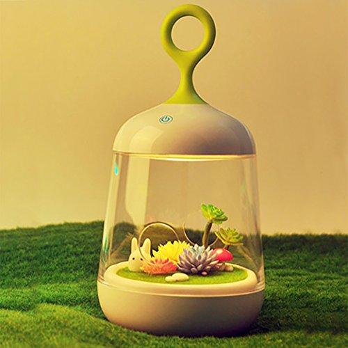 LuxLumi Mini Wonderland Garden with DIY Micro Plant Landscape, Multi-Color LED Night Light Lantern & Smart Touch for Nursery Kids Back to School Activity & Baby Shower Gift (Bunny & Mushroom Garden) For Sale