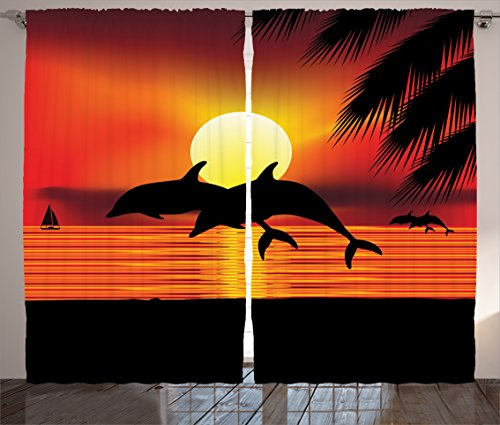 Ambesonne Whale Decor Collection, Two Dolphin in the Ocean at Sunset and Palm Tree Leaves Romantic Waterscape View, Window Treatments for Kids Girls Boys Bedroom Curtain 2 Panels Set, 108X63 Inches