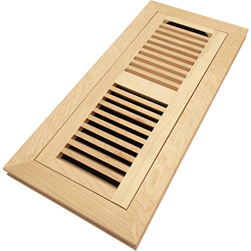Maple Unfinished Wood - Homewell Maple Wood Floor Register, Flush Mount Vent with Damper, 4x12 inch, Unfinished