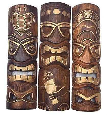 3 Tiki Máscaras 50cm Im Hawai Estilo Juego de 3 Máscara de ...