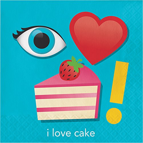 Show Your Emojions I Love Cake Napkins, 48 Count by Creative Converting