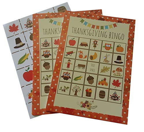Thanksgiving Bingo Party Game for All Ages Great For Kids and Adults for 24 Players by Happy House Merchandise