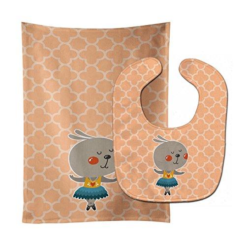 Caroline's Treasures Baby Bib & Burp Cloth, Ballerina Rabbit, Large ()