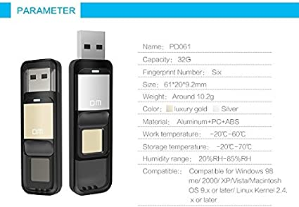 Farsler 32GB 64GB High-Speed Recognition Fingerprint Encrypted Pen Drive Dual Storage Security Memory USB Stick 64G Gold