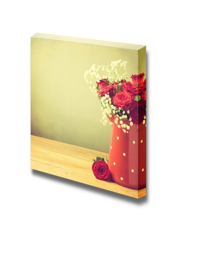 Still Life Rose Flower Bouquet in Red Polka Dots Jug Wall Decor ...