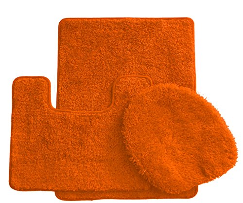 3 Piece Luxurious Ultra Spa Solid Colors Bath Rug Set Made with 100% Polypropylene. (3Pc Orange) (Bath Rug Changes Color)