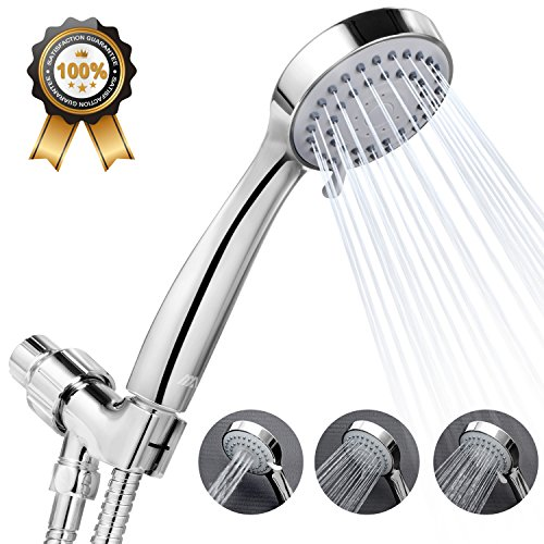 Adoric High Pressure Handheld Shower Head w/ Water Saving Mode | Long Flexible Stainless Steel Hose | Adjustable Mount, Best for Massage, Rainfall, Spa - Chrome