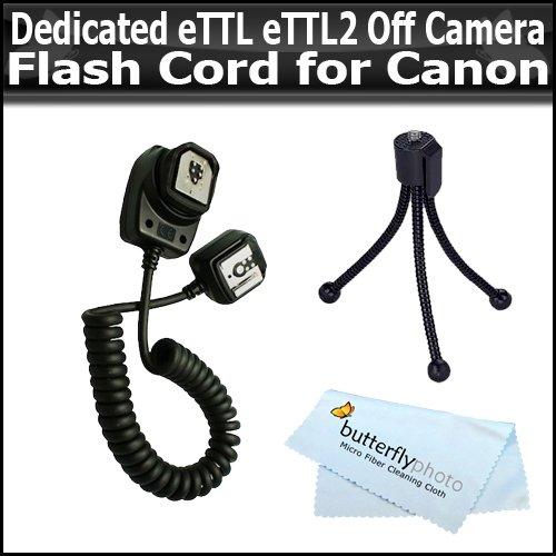 UPC 628586121720, Dedicated eTTL eTTL2 Off Camera Flash Cord For Canon POWERSHOT G7 G9 G10 G11 G12 PRO1 A650 A640 S5 IS S3 IS S90 IS SX10 IS SX1 IS SX20 SX120 IS A570 A590 E1 + Free Mini Tripod