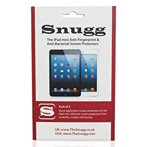 Snugg iPad Mini Anti Fingerprint and Anti Bacterial Screen Protectors (pack of 2) - Includes Microfiber Cloth and Anti Bubble Leveller