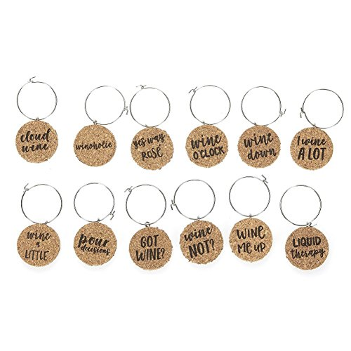 Wine Glass Charms - 12-Piece Wine Charm Drink Markers - Natural Cork Wine Lover Themed Wine Glass Tags Decorations for Parties, Gatherings, Reunions - 1 x 0.19 inches by Juvale (Image #7)