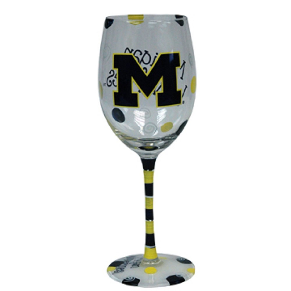 Michigan Wolverines Blue and Yellow Hand Painted Wine Glass