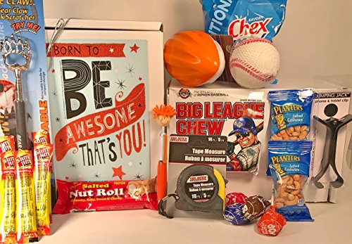 Men's Young Men's Teen Boys Birthday Gift Box Basket - Send Happy Birthday Wishes With These 6 Masculine Gifts and 14 Tasty Treats Today! (Send A Gift Basket Today)