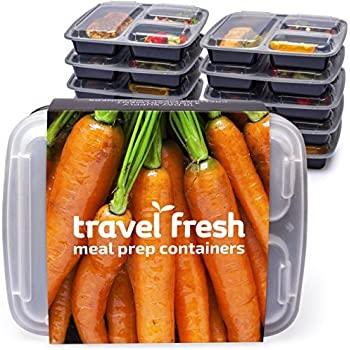 PREMIUM 3-Compartment Meal Prep Containers | Keep Food Fresh For Longer [10 pack] BPA-FREE, Stackable, Microwavable, Dishwasher Safe Lunch Boxes With BONUS Recipe Subscription