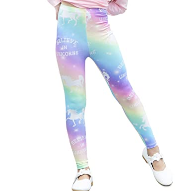 243c0f1b14 Kid Girls Unicorn Rainbow Leggings Soft Stretchy Pants High Waist Slim  Tights (6-7Y