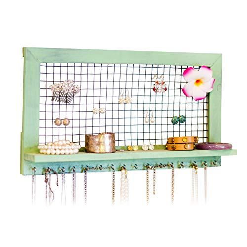 SoCal Buttercup Shabby Chic Wooden Wall Mount Jewelry Organizer - Top Hanging Jewelry Holder for Earrings, Necklaces, Bracelets and Accessories