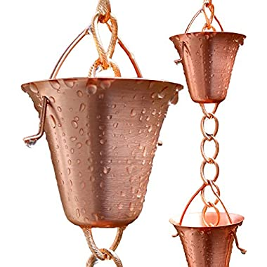 Rain Chain - Pure Copper - by Golden Canary, Ready to Install in Gutter, Decorative Downspout Replacement for Collecting Water in a Barrel (6 Feet)