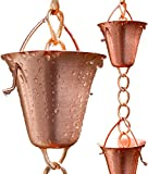 Rain Chain For Outdoor, Copper Made To Replace Gutter Downspouts With Decorative Chimes - Cups - Bells
