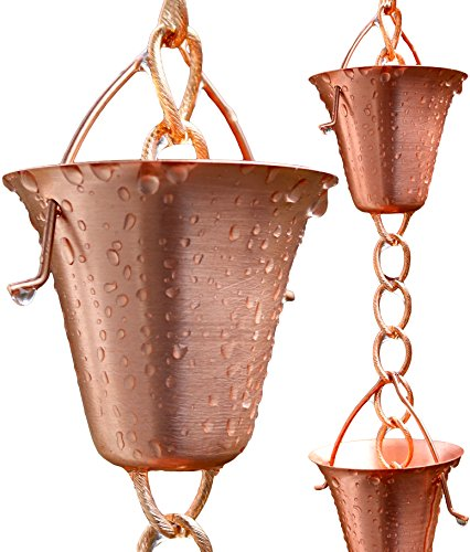 Rain Chain with 9 Pure Copper Cups by Golden Canary, 6 Foot Long, 365 Day Money Back Guarantee, Ready to Install