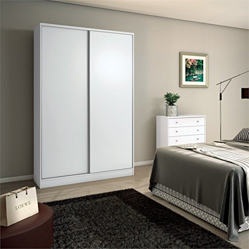 Manhattan Comfort Chelsea 1.0 - 54.33 in. Wide Armoire with 3 Drawers and 2 Sliding Doors (Wardrobe Closet With Sliding Doors)