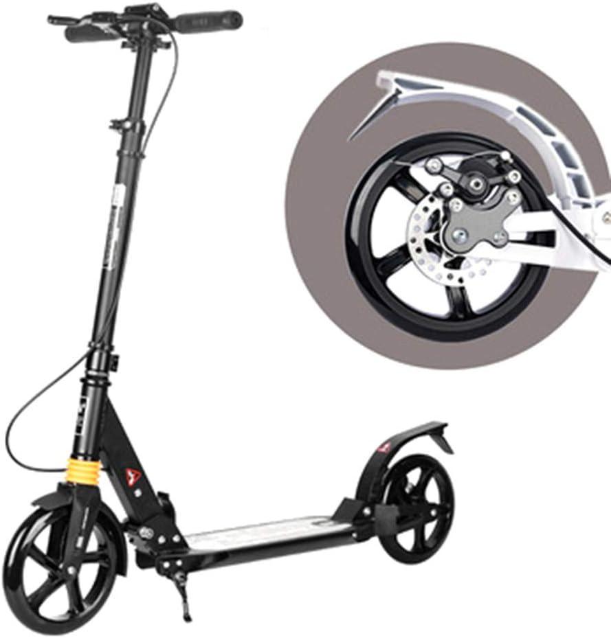 GXH- スクーター100KG耐荷重、黒と白のハンドブレーキダブルショックアブソーバー、2つの大型車輪折りたたみ式デザイン、子供の大人の屋外スポーツ 黒
