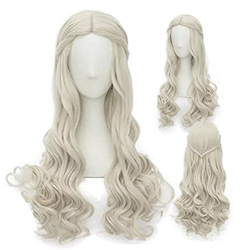 Alacos Lolita Princess Style 25 Inches Long Blonde Curly Wavy Braid Anime Cosplay Wigs for Women Christmas Party Carnival Dress Up Holiday Use+ (Christmas Dress Up Ideas)