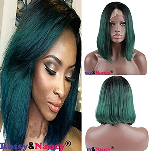 [Rossy&Nancy Black Root Green Ombre Color Short Bob Lace Front Wig Synthetic Hair 12inch] (Cheap Color Wigs)