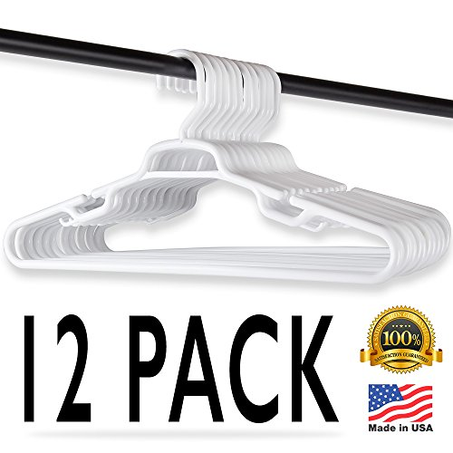 Home Intuition Standard Plastic White Hangers, Extra Large,