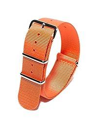 20mm Ballistic Nylon NATO Watch Strap with Stainless Hardware (Orange)