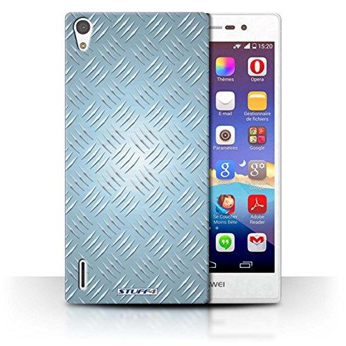 Coque de Stuff4 / Coque pour Huawei Ascend P7 LTE / Bleu Design / Motif en Métal en Relief Collection