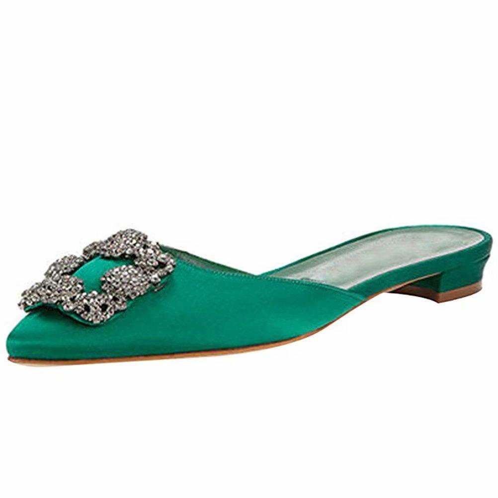 Chris-T Femmes en Chaussures Ballerines Talon Bas Classique Chaton en Satin Sandales Talon de Chaton Chaussures de Travail Green Slipper 7af569c - boatplans.space