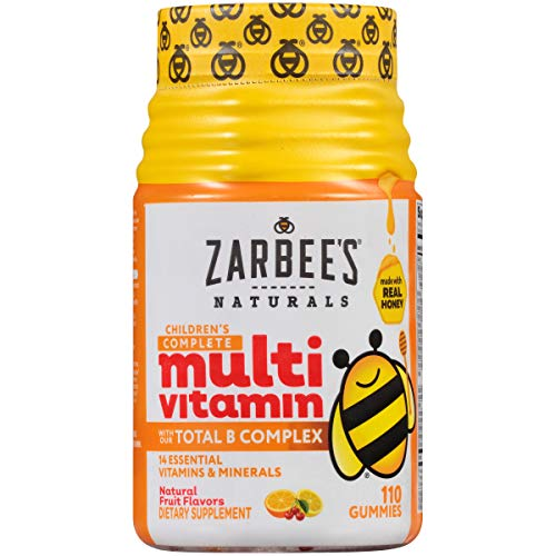 Zarbee's Naturals Children's Complete Multivitamin Gummies with Our Total B Complex and Essential Vitamins, Natural Fruit Flavors, 110 Gummies ()