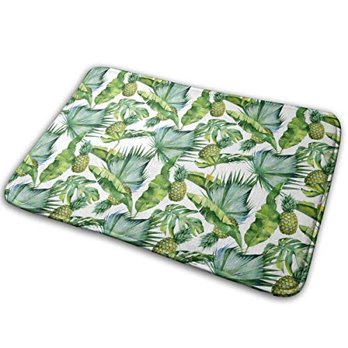 Tropical Leaves and Pineapple,Anti-Slip Machine-Washable Door Mat Bathroom Kitchen Rug Indoor Outdoor Mats Thicken Playmat Multi-purpose Floorcover 31.5(L) X 19.7(W) Inch