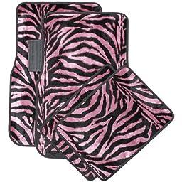 Oxgord Front & Back Seat Zebra/Tiger Stripe Carpet Mats for for Car/Truck/Van/SUV, Pink & Black