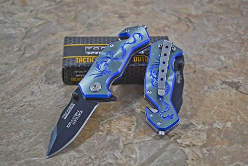 Tac-force Assisted Opening Camping Hunting Outdoor Blue/gray Aluminum Handle Dragon Graphics Design A/o 3.5