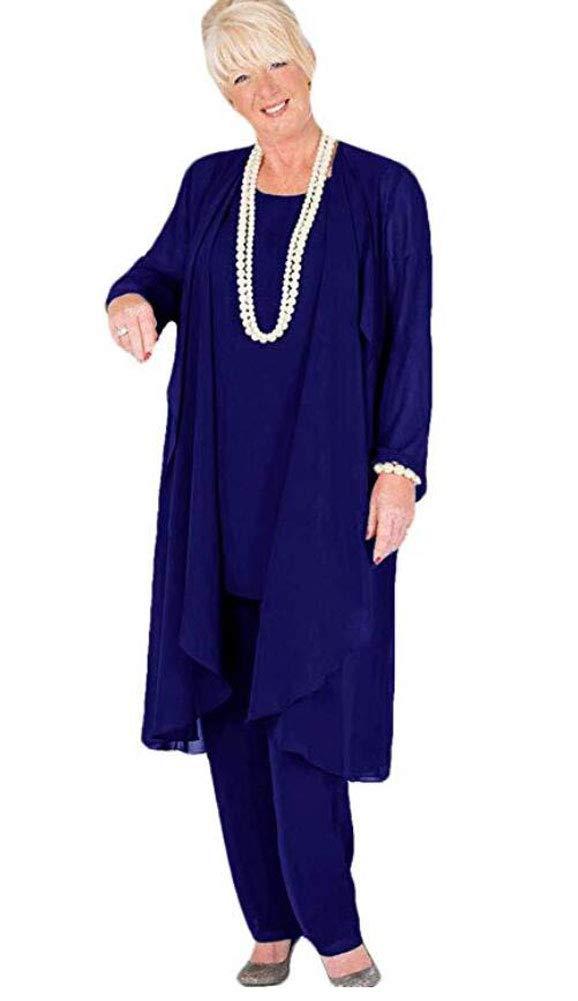 Women\'s Long Chiffon Pants Suit 3 PC Outfit Plus Size Dress Suit for Mother  of The Bride Evening Gowns Royal Blue US20W