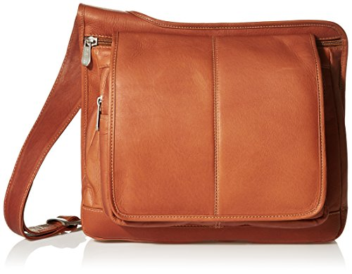 (Piel Leather Slim Line Flap-Over Ladies Bag, Saddle, One Size)